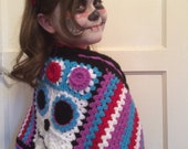Day of the Dead Halloween Wrap, a crochet wrap pattern, Stylecraft Special DK, quick easy crochet