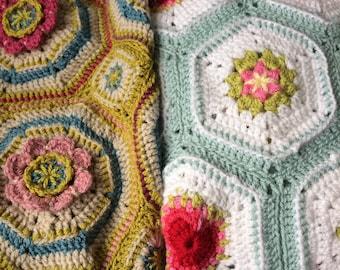 Crochet blanket pattern bundle, pair of baby blanket patterns, floral motifs, heirloom crochet patterns