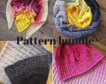 Crochet pattern bundle for crochet hat, crochet cowl, crochet scarf, crochet shawl, one skein pattern, Scheepjes Whirl