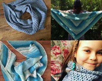 Crochet pattern bundle 2 crochet shawl patterns, easy crochet patterns, top down, sideways, yarn cake pattern, beginner crochet
