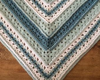 Holkham Bay Shawl, crochet shawl pattern, top down triangle, adventurous beginner, dk, light worsted