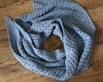 Easy crochet shawl pattern, Waiting Shawl, beginner friendly, denim yarn shawl, side to side shawl, spring shawl