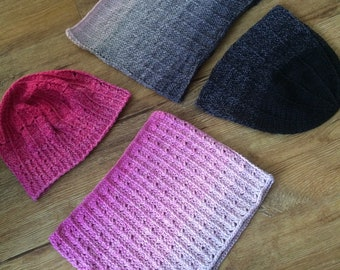 Crochet pattern for two hats and two cowls from one yarn cake, Scheepjes Whirl pattern, beanie, cowl