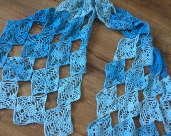 Diamond Shawl, crochet pattern, motif wrap, join as you go scarf, pdf pattern, US terms, UK terms