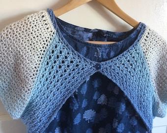 """Wighton Shrug, a crochet shrug pattern, yarn cake, Scheepjes Whirl, one skein pattern, 30""""-50"""""""