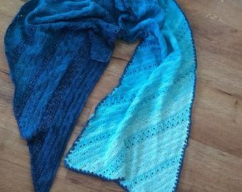 Crochet shawl pattern, Storm Dance Wrap, crochet wrap pattern for mini-skeins, yarn cake, ombre crochet shawl pattern, instant download pdf
