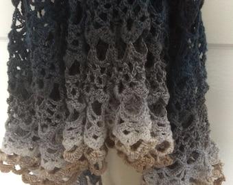 Dancing at Dusk Shawl, a crochet shawl pattern, one skein, Scheepjes Whirl pattern