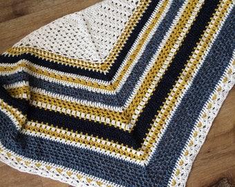 Crochet shawl pattern, Norfolk Stripes Shawl, cotton yarn, mustard and blue, instant download, intermediate crochet, coastal stripes