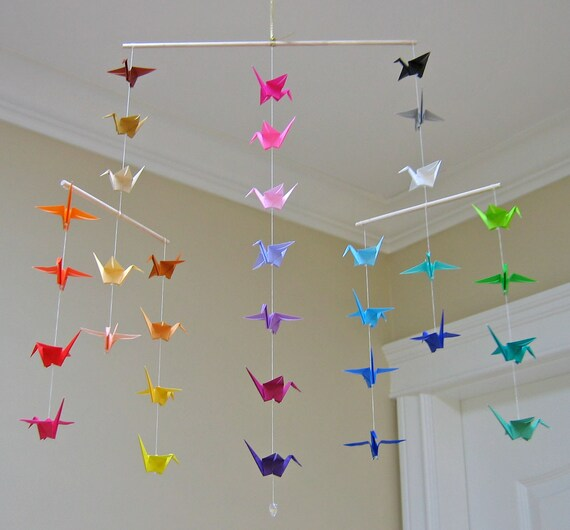 Origami Crane Mobile Colour Wheel Contemporary Mobile Etsy