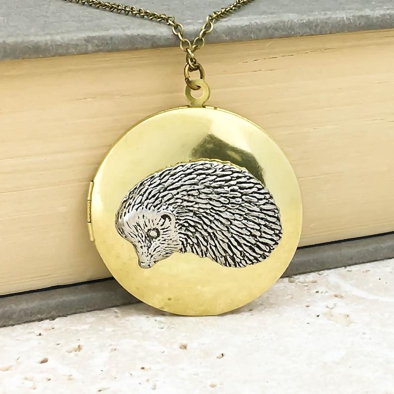 Antiqued Silver Pewter and Vintage Brass Locket Necklace Hedgehog Locket Necklace