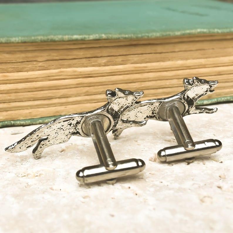 Antiqued Silver Pewter Wild Fox Cufflinks Wild Fox Cufflinks