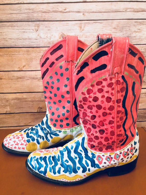 e931a2da82b Artsy Hand Painted Cowboy Boots Womens 7M Colorful Unique Original One Of a  Kind Laredo USA Leather Salmon Geometric Abstract Design