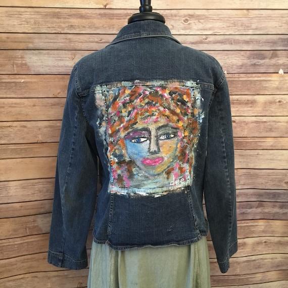Hand Painted Denim Jacket Womens Xl Art To Wear Festival Etsy