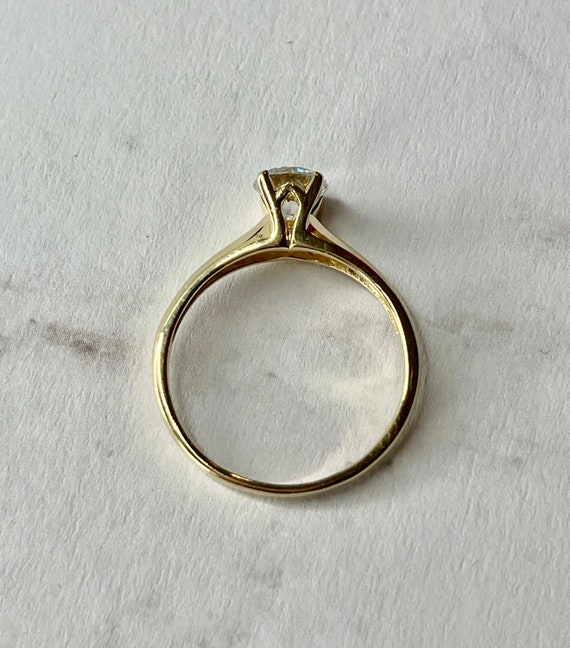 14K Solid Gold Round Cut Solitaire Engagement Rin… - image 7