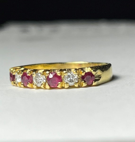 Ruby diamond 18k Band Ring , Ruby Anniversary Ring