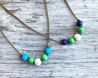 Islander knotted necklace / handspun ROPE necklace / waterproof / life-proof / minimalist beauty / tula blue