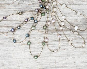 medium baroque pearl princess necklace / knotted handspun ROPE / mermaid / waterproof / life-proof / island jewelry / Tula Blue
