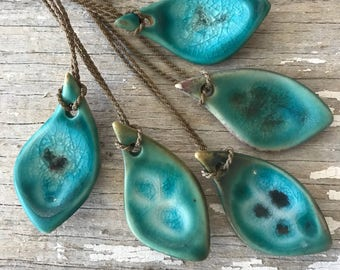 Maho Bay Clayworks Pottery piece with recycled glass / hand-spun rope necklace / St. John / USVI  / tula blue