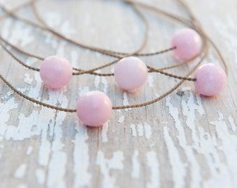 pink JADE knotted handspun rope necklace / waterproof /kid-proof/ life-proof / minimalist beauty / tula blue
