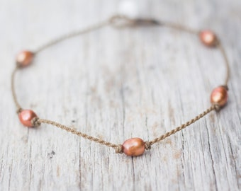 copper PRINCESS anklet / freshwater pearl / handspun ROPE COLLECTION / waterproof / life-proof / minimalist beauty / Tula Blue