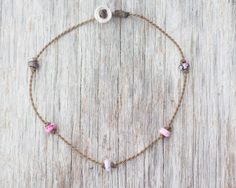 pink agate PRINCESS anklet / handspun ROPE COLLECTION / waterproof / life-proof / minimalist beauty / Tula Blue