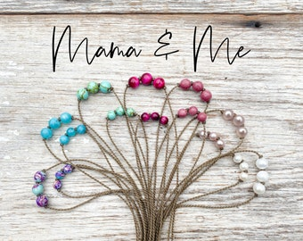 Mama & Me Triple Knotted Tula Blue necklaces
