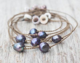 peacock pearl anklet / handspun ROPE / island jewelry / waterproof / kid-proof / life-proof / minimalist beauty / Tula Blue