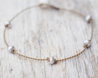 silver pearl PRINCESS anklet / freshwater pearl / handspun ROPE COLLECTION / waterproof / life-proof / minimalist beauty / Tula Blue