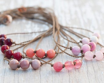the pink collection / knotted handspun rope necklace / waterproof /kid-proof/ life-proof / minimalist beauty / tula blue