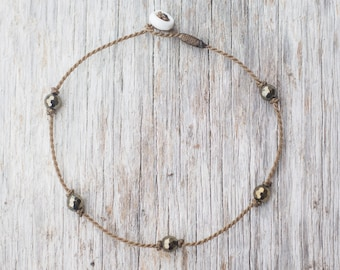 pyrite PRINCESS anklet / freshwater pearl / handspun ROPE COLLECTION / waterproof / life-proof / minimalist beauty / Tula Blue