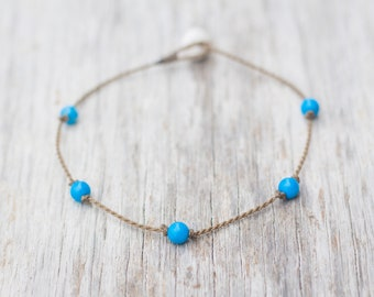 blue howlite PRINCESS anklet / handspun ROPE COLLECTION / waterproof / life-proof / minimalist beauty / Tula Blue