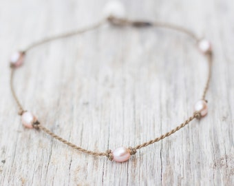 blush rice PRINCESS anklet / freshwater pearl / handspun ROPE COLLECTION / waterproof / life-proof / minimalist beauty / Tula Blue