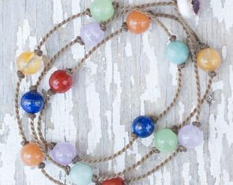 7 Chakra WRAP / necklace, anklet, bracelet or hair piece / handspun ROPE / waterproof / life-proof / bohemian / tula blue