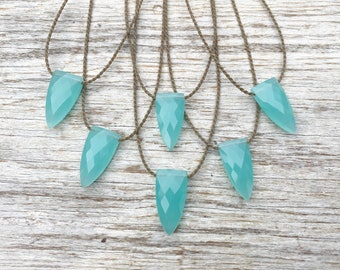 aqua chalcedony pyramid briolette / handspun ROPE necklace / waterproof / life-proof / bohemian minimalist beauty / tula blue