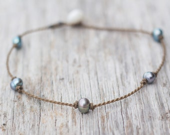 peacock PRINCESS anklet / freshwater pearl / handspun ROPE COLLECTION / waterproof / life-proof / minimalist beauty / Tula Blue