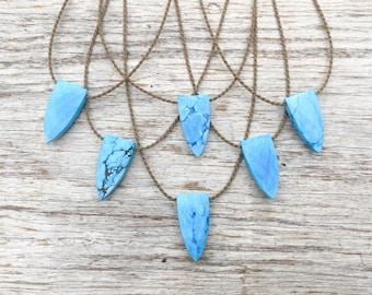 turquoise howlite pyramid briolette / handspun ROPE necklace / waterproof / life-proof / bohemian minimalist beauty / tula blue