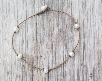 white pearl PRINCESS anklet / freshwater pearl / handspun ROPE COLLECTION / waterproof / life-proof / minimalist beauty / Tula Blue