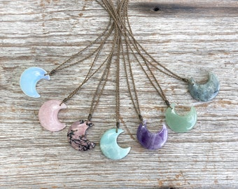 NEW! Stone crescent moon necklace / hand-spun ROPE / waterproof, kid-proof, life-proof / Tula Blue