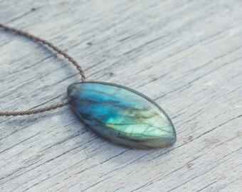 Labradorite / knotted handspun ROPE / marquise cut pendant / waterproof / life-proof / island jewelry / tula blue
