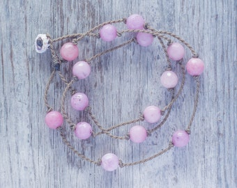 Pink Orchid Jade WRAP ~ handspun ROPE ~ bracelet ~ anklet ~ necklace ~ hair jewelry ~ versatile ~ minimalist bohemian beauty