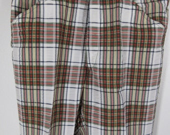 Vintage Saturdays Britches pants cotton seersucker tartan plaid gold  leisure trousers unlined flat front Lord and Taylor 27e44a102