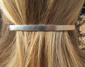 Long Thin Brushed Silver Barrette minimal Hair Clip accessory Gift for her