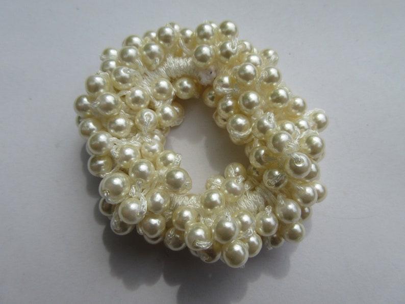 Ivory faux pearl hair tie simple bead elastic wedding bridal evening