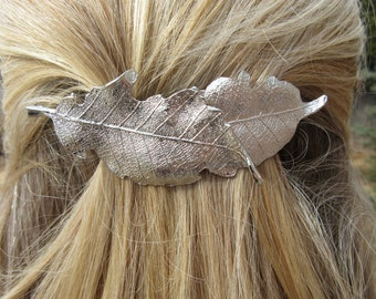 Silver Leaf Barrette Layered Hair Clip Minimal Accessory Pony Clip Woodland Leaves Silver Metal Bohemian Hippie Nature Hair Jewelry Gift