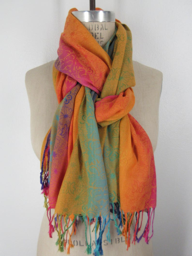 fe6a82d5cca13 Orange Rainbow Scarf butterfly floral fringed shawl pashmina | Etsy
