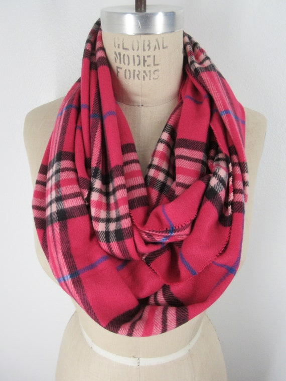 9060504227569 Dark Pink Plaid infinity scarf tartan neck wrap cowl soft Flannel loop cozy  Boho chic Warm winter Muffler Checkered Preppy Accessory