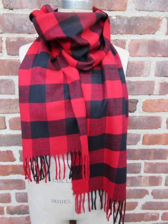ef4f9f076 Buffalo Check Scarf Red Black Neck Wrap Flannel Fringed Plaid | Etsy