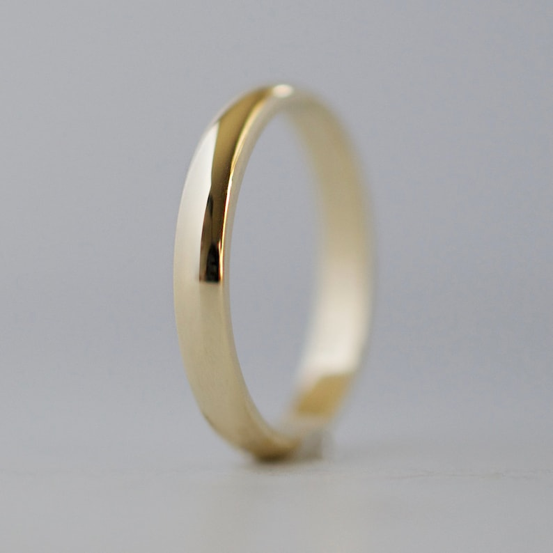 14K Yellow Gold 2.5mm Half Round with Edge Band Ring Size 4 Ideal Gifts For Women