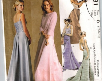 McCalls 2681 Evening Elegance Sewing Pattern Evening Gown Skirts with Train or without or pleated Sizes 12-14-16