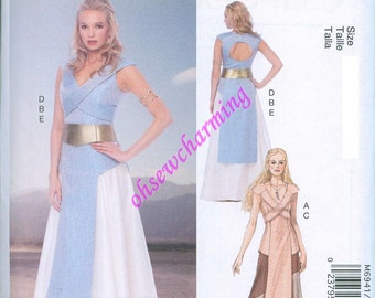 Game of Thrones Inspired Dress Sewing Pattern McCalls 6941 UNCUT Sizes  12-14-6-18-20 Gown Daenerys Blue Tan 00cd65199